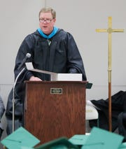 Sheboygan Lutheran Executive Director Paul Gnan speaks during the Sheboygan Lutheran Graduation Service, Friday, May 24, 2019, in Sheboygan, Wis.