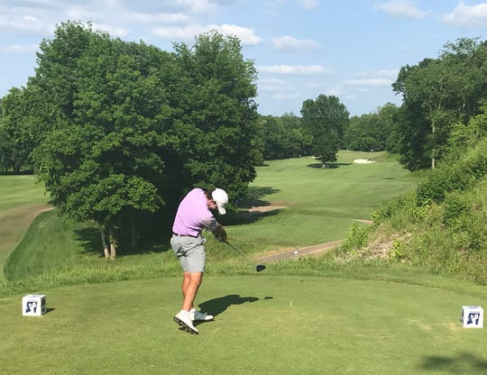 LSU's Philip Barbare Jr. tees off on the 15th hole during Saturday's second round of the NCAA Championships at Blessings Golf Club in Fayetteville, Arkansas.