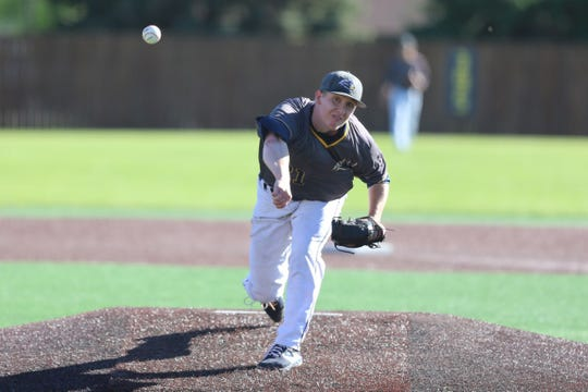 Max Steffens delivers a pitch Friday in Augustana's 6-4 loss to Central Missouri