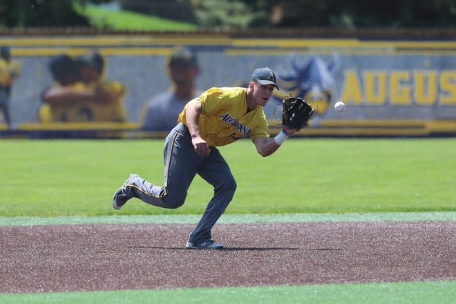 Augustana shortstop Sam Baier makes a play during Saturday's Super Regional game at Ronken Field