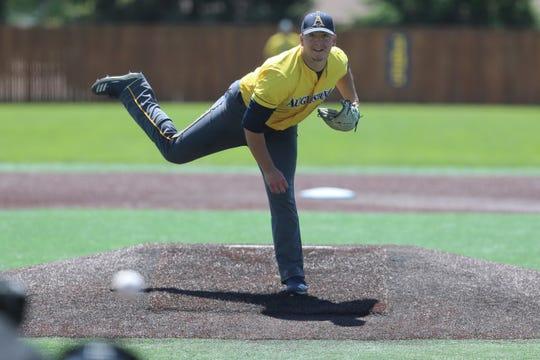Augustana pitcher Derek Dahlke delivers during Saturday's Super Regional at Ronken Field