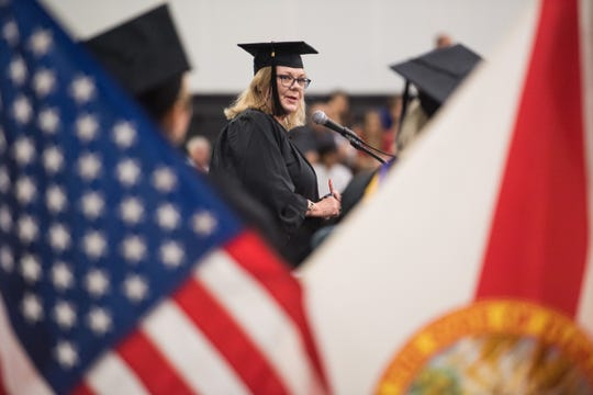 Martin County School District Superintendent Laurie Gaylord addresses the Clark Advanced Learning Center graduating class during their commencement ceremony Saturday, May 25, 2019, at Jensen Beach High School. Gaylord announced Monday she'd be retiring when her second term expires in November.