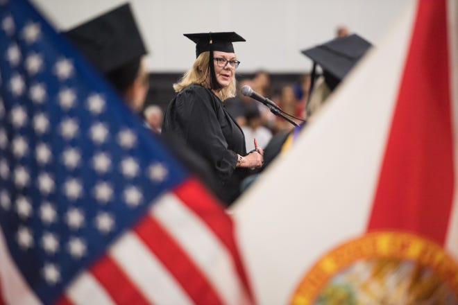 Martin County School District Superintendent Laurie Gaylord addresses the Clark Advanced Learning Center graduating class during their commencement ceremony Saturday, May 25, 2019, at Jensen Beach High School. Gaylord's term expires in November 2020. The School Board will appoint her successor.