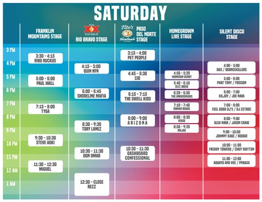 The current Neon Desert schedule after Ximena Sarinana's cancellation.