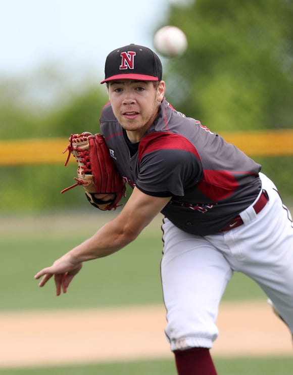Nyack pitcher Miles Massay in action against Lakeland during playoff action at Granite Knolls Park in Shrub Oak May 25, 2019. Lakeland won the game 3-0.