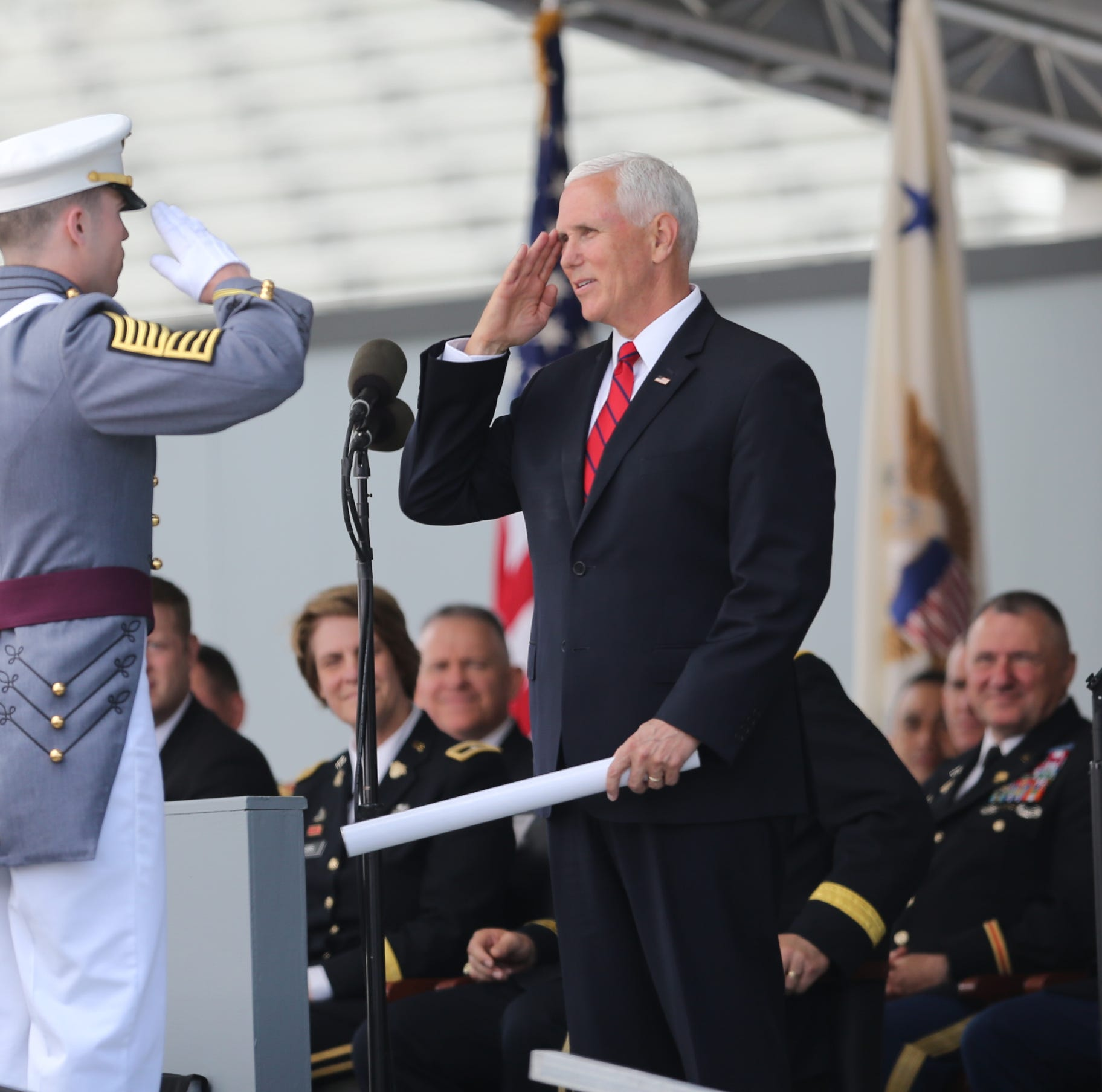 Vice President Mike Pence gives a salute to Cadet Brady Miller of Glen Rock in the 221st graduation and commissioning ceremony at the United States Military Academy at West Point on Saturday, May 25, 2019.  Cadets graduate and are commissioned as Army 2nd lieutenants.