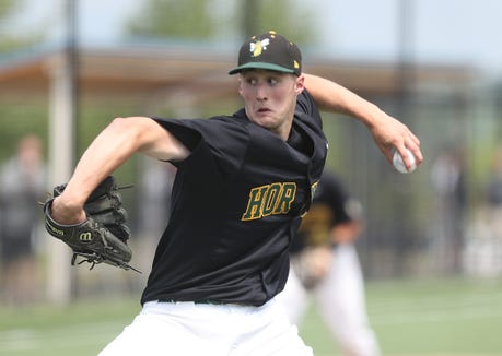 Lakeland pitcher Joey Vetrano in action against Nyack during playoff action at Granite Knolls Park in Shrub Oak May 25, 2019. Lakeland won the game 3-0.
