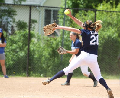 Suffern pitcher Sam Kaner delivers a pitch during a Section 1 Class AA softball quarterfinal game at Mahopac High School on May 25, 2019.