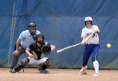 Mahopac's Shannon Becker at bat during a Section 1 Class AA softball quarterfinal game at Mahopac High School on May 25, 2019.