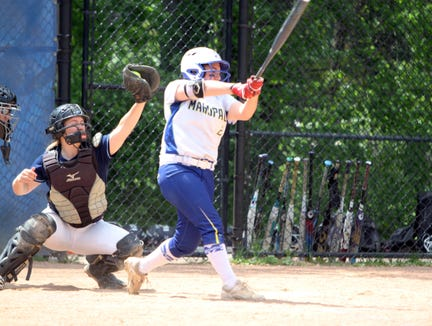 Mahopac's Carolyn Galizia at bat during a Section 1 Class AA softball quarterfinal game at Mahopac High School on May 25, 2019.