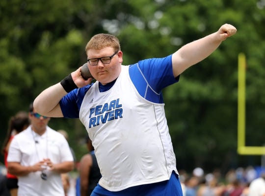 Pearl River's William Mattei, shown competing at last spring's Section 1 Class B Outdoor Track & Field Championships, should be the shot putter to beat in boys indoor track & field this winter.