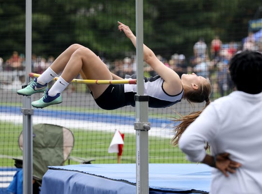 Nanuet's Kelly Vucinic competes in the high jump as part of her pentathlon, during the Section 1 Class B Track & Field Championships at Pearl River High School, May 25, 2019.