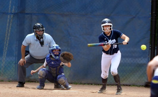 Suffern's Jenna O'Reilly at bat during a Section 1 Class AA softball quarterfinal game at Mahopac High School on May 25, 2019.