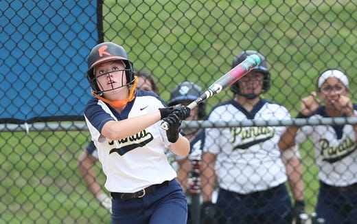 Walter Panas' Sam Kayo hits a 2-run homer in the 7th inning against Hen Hud during softball playoff action in Montrose May 25, 2019. Panas won the game 4-1.