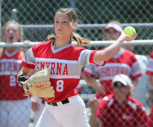 Smyrna pitcher Payton Dixon throws to second to start a game-ending double play in the Eagles' 1-0 win against Caravel in the DIAA Softball Tournament title game Saturday in Roxana.