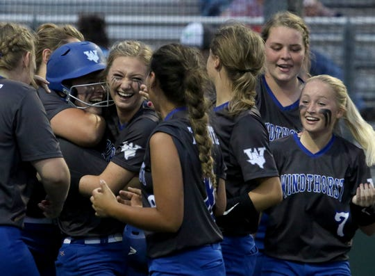 Windthorst celebrates it's 11-1 win over Archer City in Gm 3 Friday, May 24, 2019, at Midwestern State University's Mustangs Park. The Trojanettes won the series 2-1 and head to the state tournament in Austin.