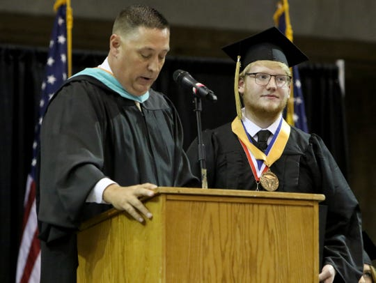 Wichita Falls ISD Superintendent Michael Kuhrt introduces Rider High School salutatorian Austin Tack at the 57th graduation as shown in this May 25, 2019, file photo at Kay Yeager Coliseum.