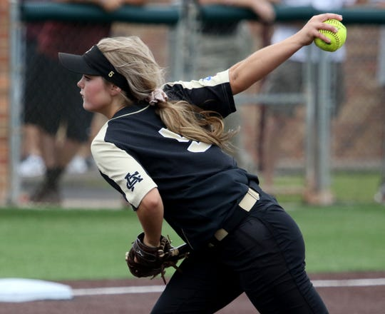 Archer City's Victoria Rater pitches against Windthorst in Gm 2 Friday, May 24, 2019, at Midwestern State University's Mustangs Park. The Lady Cats defeated the Trojanettes 5-4 to force a third game.