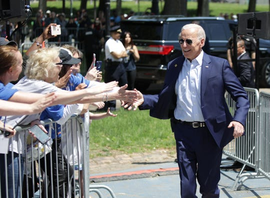Former Vice President Joe Biden arrives for the kick off of his presidential election campaign in Philadelphia, Pennsylvania, on May 18, 2019.