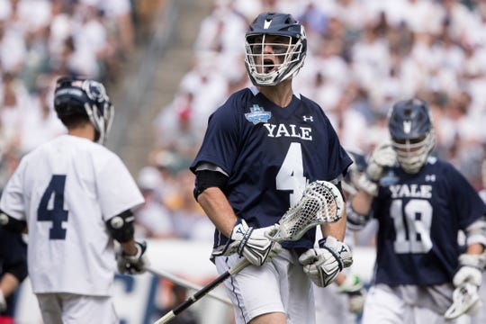 Yale Bulldogs midfielder John Daniggelis reacts after scoring a goal against the Penn State Nittany Lions.