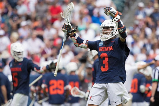 Virginia's Ian Laviano (3) reacts before the start of overtime of the Cavaliers' NCAA semifinal showdown with Duke.