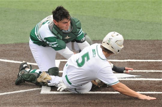 Breckenridge catcher Jake Escalon tags out Tanner Sieder at home to end the top of the first inning. Sieder was trying to score from second on Gage Weishuhn's RBI single. Ryan Gully had scored ahead of him from third base. Wall beat the Buckaroos 11-1 in five innings to sweep the Region I-3A semifinal series Saturday, May 25, 2019, at ACU's Crutcher Scott Field.