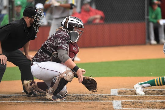 Hawley catcher Kolter Willeford (18) blocks a ball in the dirt during Game 2 of the Region I-2A semifinal series against New Deal in Lockney on Saturday, May 25, 2019. The Bearcats lost 8-7 and fell 4-3 in Game 3 to end their season.