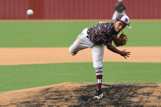 Hawley's Xavier Rodela (14) pitches during Game 3 of the Region I-2A semifinal series against New Deal in Lockney on Saturday, May 25, 2019. The Bearcats ended their season with a 4-3 loss.