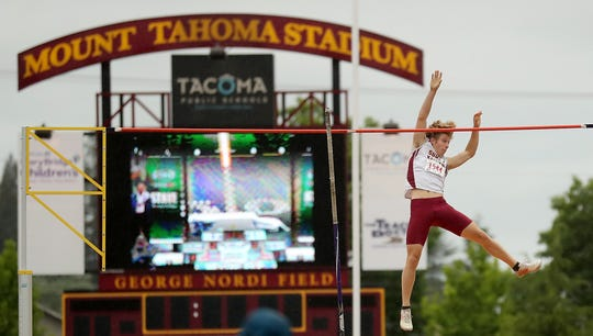 Recent South Kitsap graduate Ryan Thoma, shown here competing at the high school state track and field championships at Mount Tahoma High School in May, placed second in the men's 17-18-year-old decathlon at the USTFA Hershey Junior Olympics in Sacramento, California.