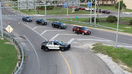 Corpus Christi police close the northbound lanes to the Harbor Bridge due to a major traffic accident on Saturday, May 25, 2019.