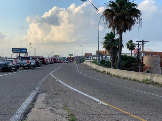Traffic on the Harbor Bridge comes to a standstill after Corpus Christi police close the northbound lanes due to a major traffic accident on Saturday, May 25, 2019.
