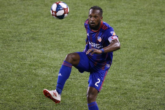 FC Cincinnati defender Kendall Waston (2) eyes the ball in the second half of an MLS soccer match against the New York Red Bulls, Saturday, May 25, 2019, at Nippert Stadium in Cincinnati. New York Red Bulls won 2-0.