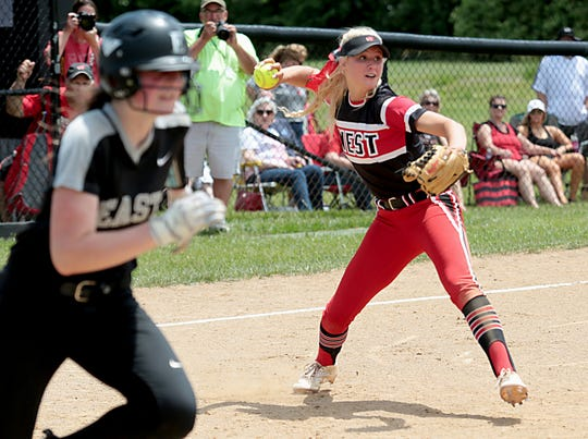 Lakota West third baseman Alyssa Triner fires to first for the force on Lakota East batter Abby Beckham during their Division I regional final at Centerville Saturday, May 25, 2019.