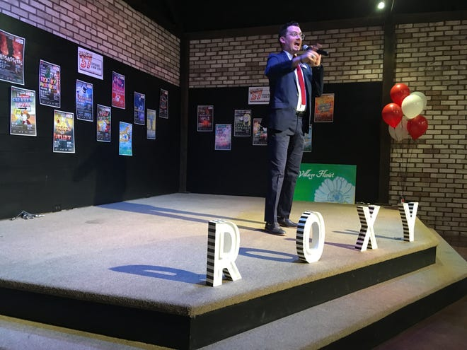 Roxy Regional Theatre Executive Director Ryan Bowie introduces Season 37 at The Belle Hollow on May 10, 2019.
