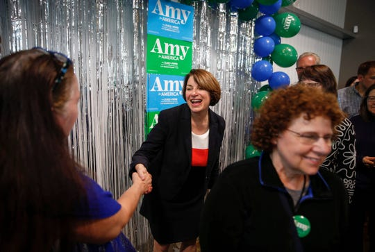 Sen. Amy Klobuchar, D-Minn., spent her birthday touring across Iowa as part of her presidential campaign before stopping at Jasper Winery in Des Moines, where she spoke to hundreds of supporters on Saturday, May 25, 2019.