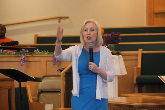 New York Sen. Kirsten Gillibrand speaks to the Mount Carmel Baptist Church congregation in Waterloo, Iowa, on Sunday, May 26, 2019.