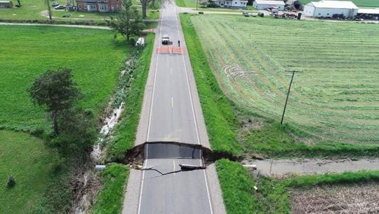 Damage on Birch Run Road near Vassar Road caused by rainstorms that hit Tuscola County on Saturday, May 26, 2019.
