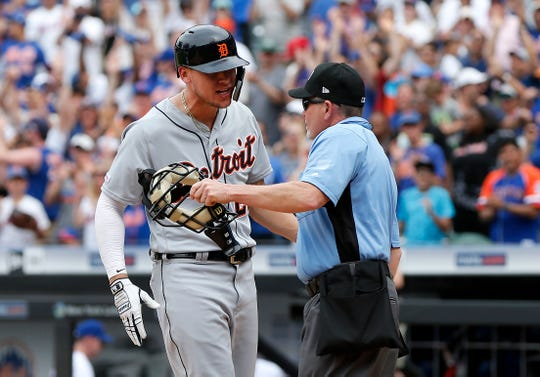 Detroit Tigers outfielder JaCoby Jones argues with home plate umpire Jerry Meals after he was called out on strikes to end the game with two men on base against the New York Mets at Citi Field on May 26, 2019 in New York City.