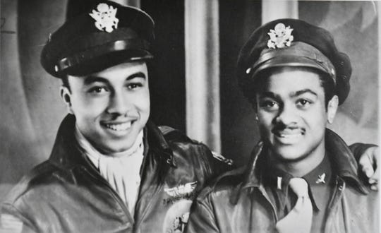 A photograph of Lt. Col. Harry Stewart Jr., right, with fellow Tuskegee Airman Leon Spears from Denver during a leave in Naples, Italy, in 1945.