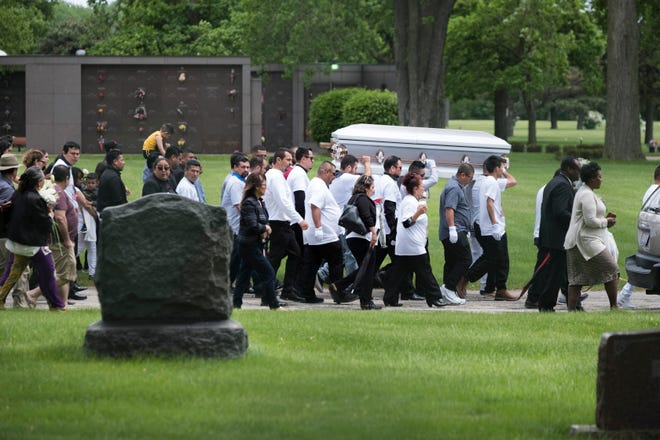 The funeral procession filled with friends and family of Marlen Ochoa-Lopez at Mount Auburn Funeral Home in Stickney, Ill., for the funeral of Marlen Ochoa-Lopez.