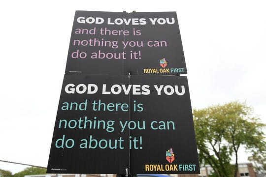 Signs posted at the parking lot outside Royal Oak First United Methodist Church in Royal Oak, Mich. on May 26, 2019.