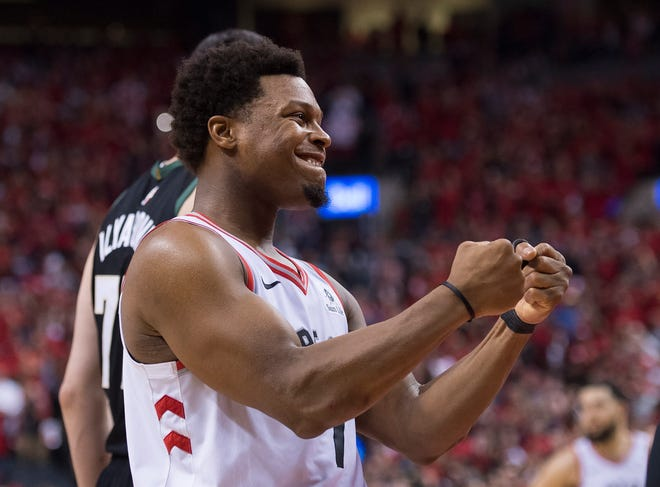 Toronto Raptors guard Kyle Lowry reacts in the finals seconds of Game 6.
