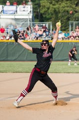 Gibson Southern's Lyndsi Adamson (3) pitches during the 2019 IHSAA 4A Girls Softball sectional championship game against the Reitz Panthers Saturday, May 25, 2019.