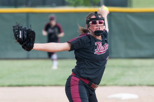 Gibson Southern's Lyndsi Adamson (3) pitches during the during the 2019 IHSAA 4A Girls Softball sectional championship game against the Reitz Panthers Saturday, May 25, 2019.