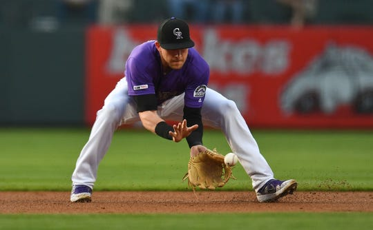 Shortstop Trevor Story, shown fielding a ground ball during a game Saturday against Baltimore, and the Colorado Rockies will continue their homestand with a 6:40 p.m. game Tuesday night against the Arizona Diamondbacks.