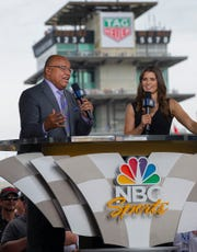 NBC Sports Mike Tirico and Danica Patrick before the start of the Indianapolis 500 at Indianapolis Motor Speedway on Sunday, May 26, 2019.