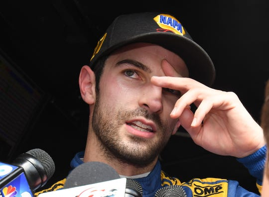 Alexander Rossi (27) of Andretti Autosport reacts after coming in 2nd place in the 103rd Indianapolis 500 at Indianapolis Motor Speedway on Sunday, May 26, 2019.