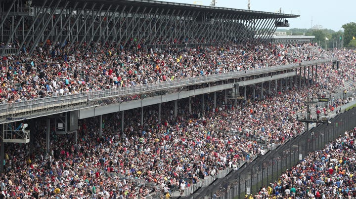 Spectators start to fill the stands before the 103rd running of the Indianapolis 500 at the Indianapolis Motor Speedway, Sunday, May 26, 2019.