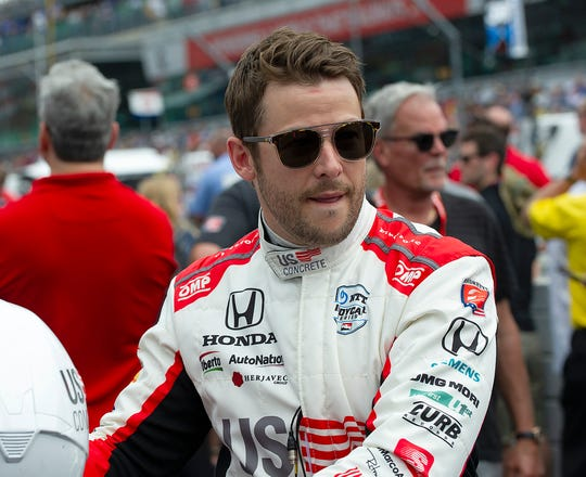 Marco Andretti (98) of Andretti Herta Autosport with Curb-Agajanian before the start of the Indianapolis 500 at Indianapolis Motor Speedway on Sunday, May 26, 2019.