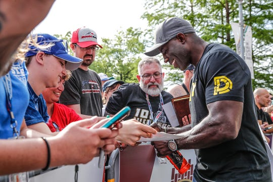 Pro Football Hall of Fame running back, Terrell Davis walks the red carpet during the 103rd Indianapolis 500, Sunday, May 26, 2019.